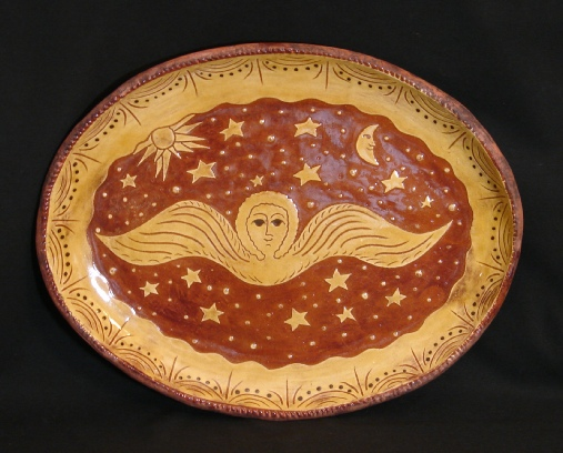 Angel with Sun and Moon Redware Platter