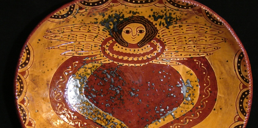 Angel with Wings redware trencher by Kulina Folk Art