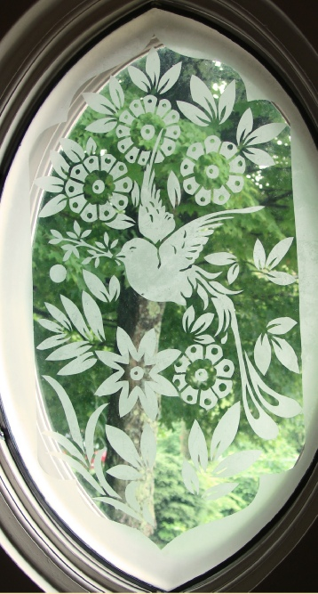 bird and flowers victorian etched glass