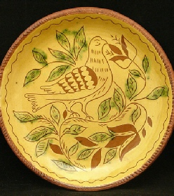 Dove, Tulips and Leaves redware plate, Kulina Folk Art