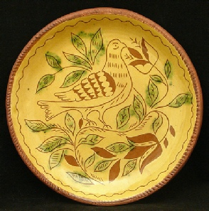 redware plate, dove, tulips and leaves