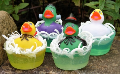 Halloween monsters rubber duckie toy soaps