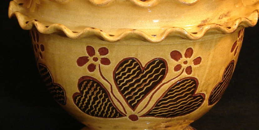 Ruffled edge fruit bowl thrown by Pied Potter Hamelin and decorated by Kulina Folk Art