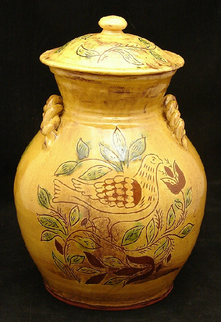 10 inch redware jar, dove, tulips and leaves