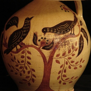redware lamp with birds eating berries pattern