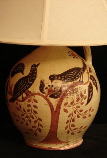 redware lamp, birds eating berries