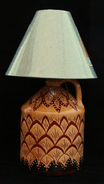redware lamp, pineapple pattern