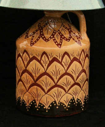 redware lamp with pineapple pattern