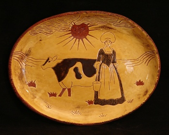 redware oval platter, the milkmaid