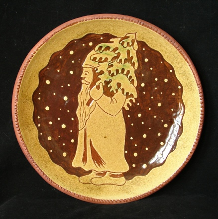 redware plate, father christmas