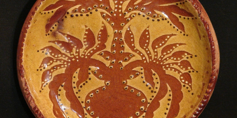 redware plate floral leaves pattern