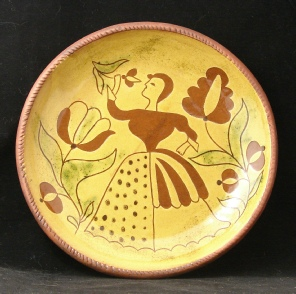redware plate, lady with tulip