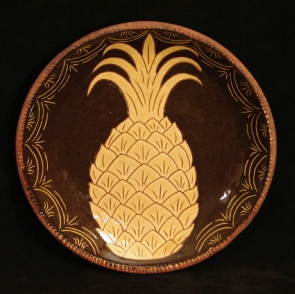 redware plate, pineapple