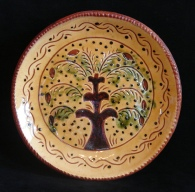 redware plate, tree of life with border