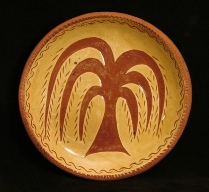 redware plate, weeping willow