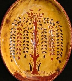 Tree of Life with Flowers redware oval platter, Kulina Folk Art