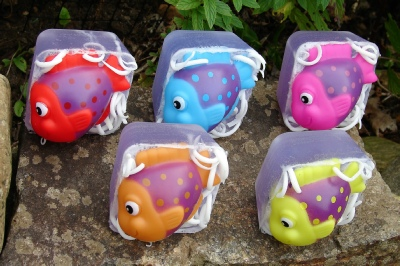 tropical fish toy glycerin soaps by Kulina Alchemy