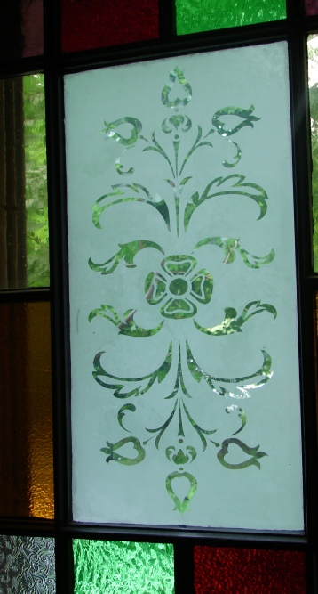 victorian etched glass on window detail